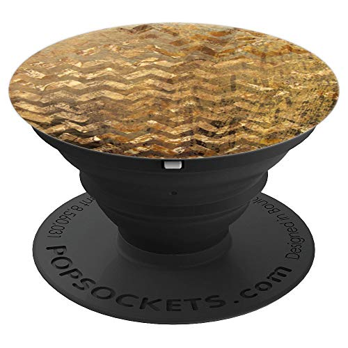 Chevron Textured Abstract Pattern Which Looks Like Gold Foil - PopSockets Grip and Stand for Phones and Tablets