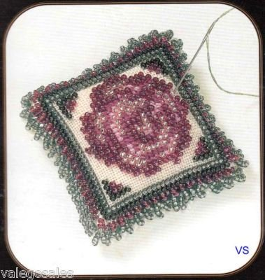 Free Counted Cross Stitch Charts (Mill Hill Magnetic Stitched and Beaded Linen Kit Pin Pillow - Vintage Rose)