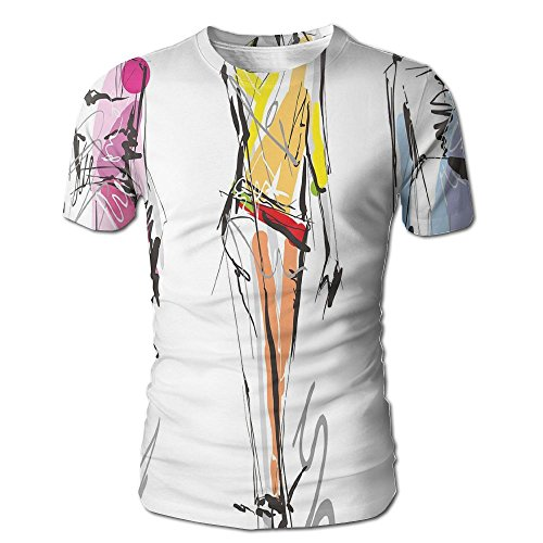 Edgar John Fashion Models Walking On Runway Girly Colorful Abstract Sketch Artwork Men's Short Sleeve Tshirt S