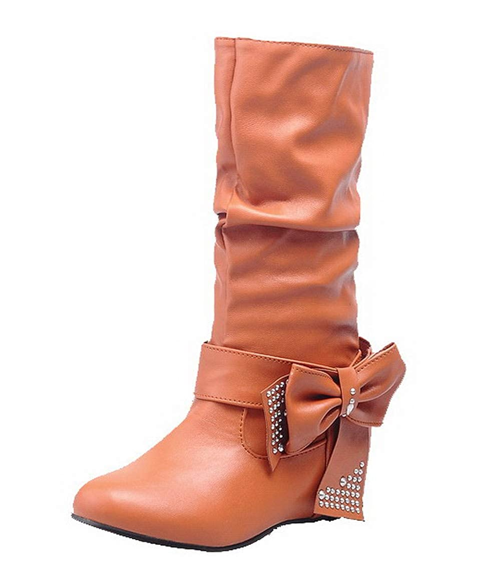 TSDXG039899 AalarDom Womens Mid-Calf Solid Pull-On Closed-Toe Low-Heels Boots