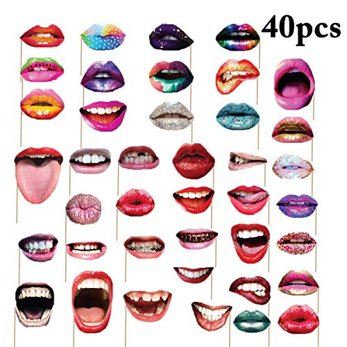 Party Photo Booth Props, Coxeer 40Pcs Funny Mouth Lips Photo Booth Prop with Stick Selfie Props Accessories for Birthday Wedding Graduation Party and Halloween&Christmas Party
