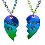 Lux Accessories Gay Pride Rainbow Weirdo 1 & 2 BFF Best Friends Heart Charm Necklaces (2pc)