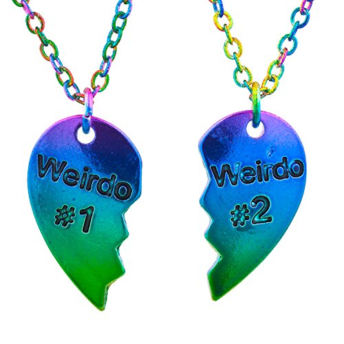 Lux Accessories Gay Pride Rainbow Weirdo 1 & 2 BFF Best Friends Heart Charm Necklaces (2pc)