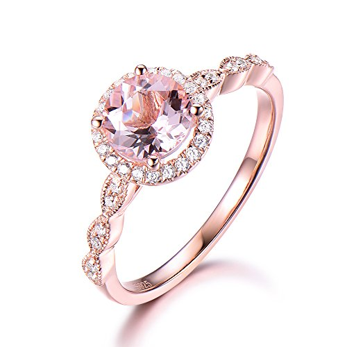 925 Sterling Silver Morganite Rose Gold Plated Antique CZ Halo Band Engagement Ring Wedding Band Milgrain by Milejewel Morganite Engagement Ring