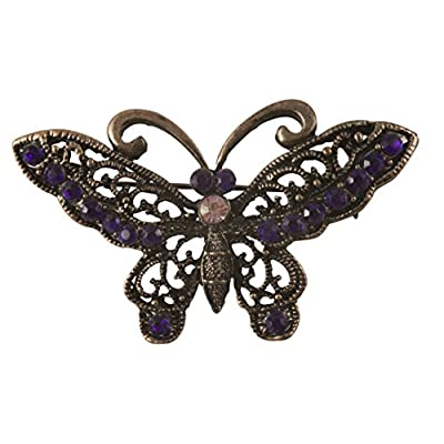 Wholesale Victorian Filigree Butterfly Brooch in Antique Copper Finish with Purple Stones free shipping