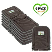 Naturally Natures Cloth Diaper Inserts 5 Layer - insert - Charcoal Bamboo Reusable Liners with Gussets (Pack of 6) (Grey) liner