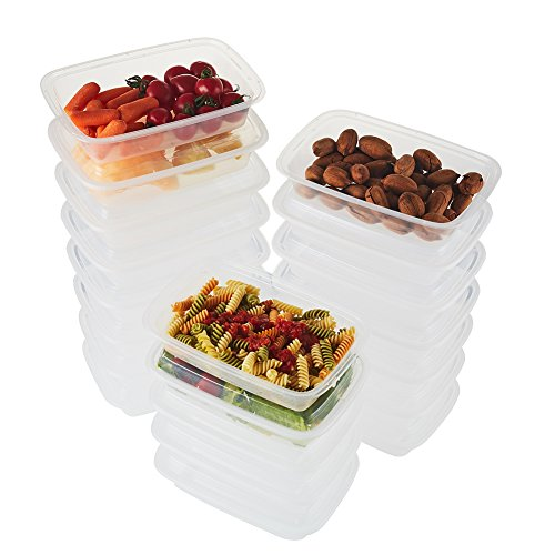 (NutriBox [40 Value Pack] Single 1 compartment 28 OZ Clear Meal Prep Plastic Food Storage Containers with lids- BPA Free Reusable Lunch Bento Box - Microwave, Dishwasher and Freezer Safe (40))