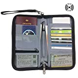 FanCarry RFID Blocking Passport Holder Cover Travel wallet Credit Card Case with Hand Strap (Black)