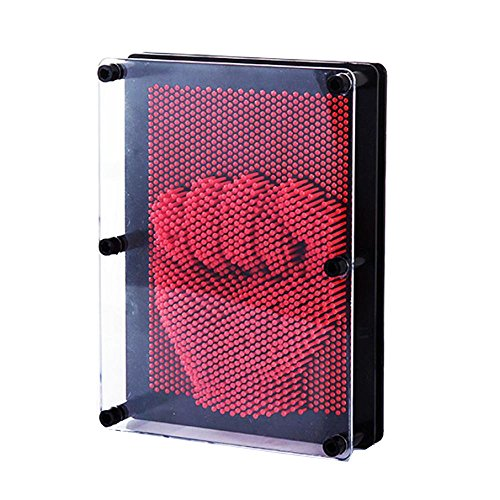 FTXJ Novelty 3D Plastic Pin Art Sculpture Point Impressions Board Desktop Decor Toy For Kids (Red) from FTXJ