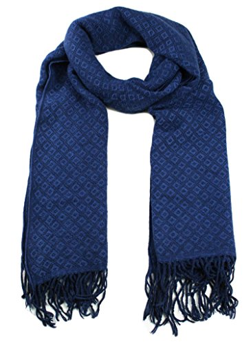 Luxury Itzu Super Soft Woven Diamonds Check Pattern Design Scarf Unisex in Blue