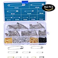 462 Pieces 7 Sizes Safety Pins Assorted Durable, Large...