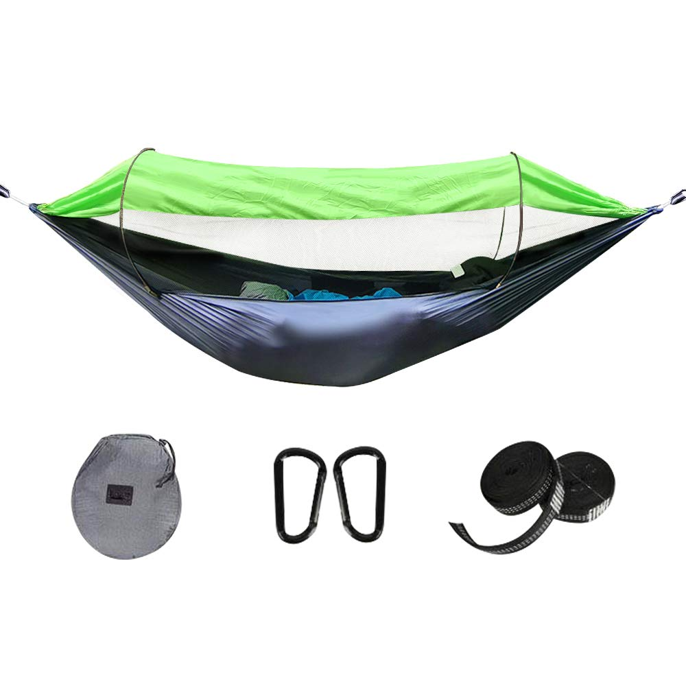 Lanbent Camping Hammock with net, Sun Protection and pop-up Design, Two-Way Zipper, Easy to Install, Ultralight Nylon Fabric, Suitable for Camping, Courtyard Gathering, Campus Lunch Break, Gray/Green