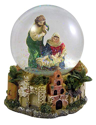 CB Christmas Nativity Musical Snow Globe Glitterdome with Carved Wood Base - Plays Tune Silent Night-Christmas Season Indoor Holiday Decorations- Wind up System- No Batteries Needed -