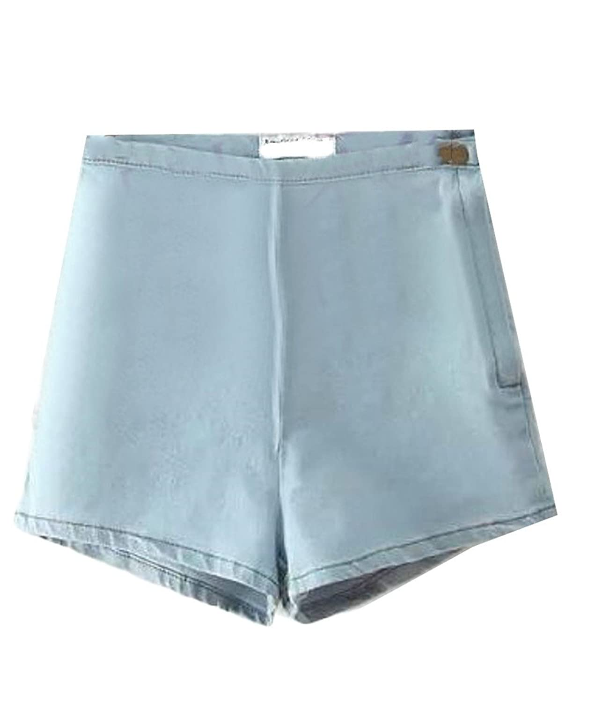 Cruiize Womens Butt Lift Side Zip High Waist Solid Bodycon Denim Shorts