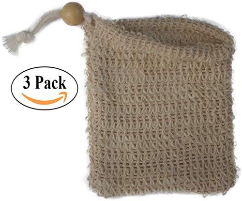 Natural Exfoliating Sisal Soap Saver Bag Pouch Holder for Shower Bath, Pack of 3