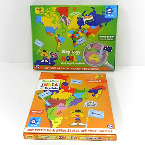 Buy Imagimake India and World Map with Capitals and Countries Flags ...