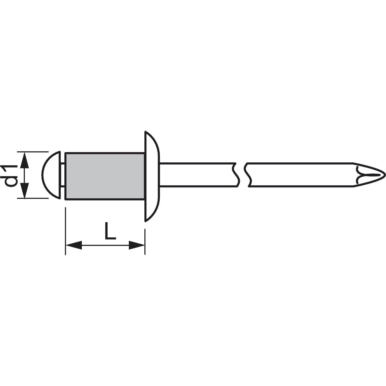 500St/ück Gesipa-Blindniete Alu//Stahl Standard 5x10mm Flachkopf