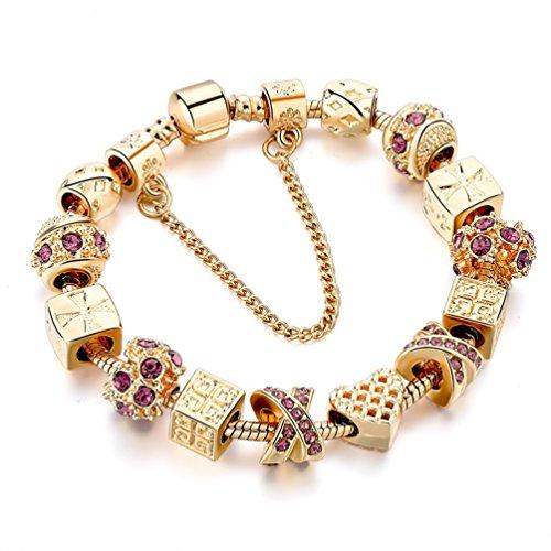 Gold Plated Bracelet Snake Chain Heart Beaded Charm Bracelets Rhinestone Bangles For Women Teen - Snake Beaded Bracelet Chain