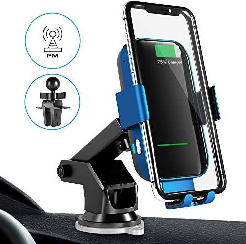 Wireless Charger Car Mount with Bluetooth FM Transmitter 10W Auto-Clamping Qi Fast Charge Wireless Car Charger Phone Holder Compatible with iPhone Xs MAX XR X 8 8 Samsung S10 S10 S9 S9 S8 and More