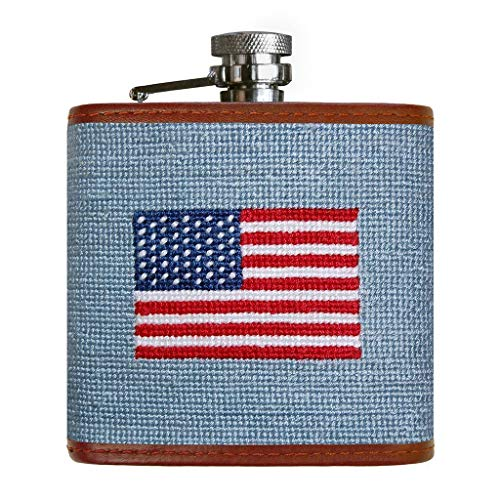 (American Flag Needlepoint Flask in Antique Blue by Smathers &)