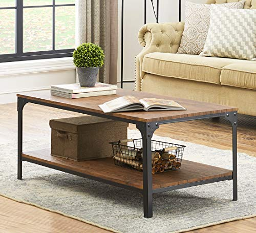 O&K Furniture Industrial Rectangular Coffee Table with Storage Bottom Shelf, -