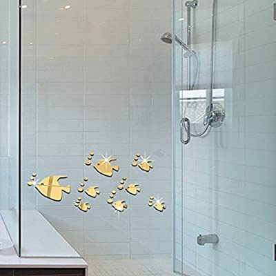 Wandaufkleber 3D Tropische Fische Golden 8 Stücke Sparkly ...
