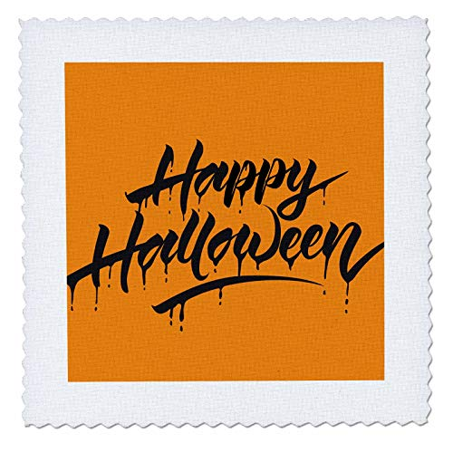 3dRose Sven Herkenrath Celebration - Scary Happy Halloween Quotes with Orange Background - 12x12 inch Quilt Square -
