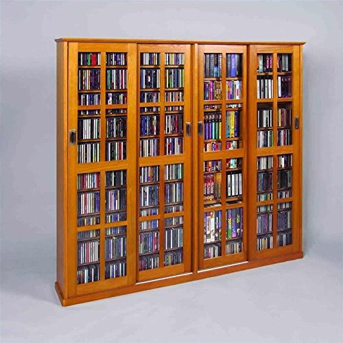 Leslie Dame 4-Door Glass CD DVD Wall Media Storage Cabinet - Dark (Leslie Dame Dvd Storage)