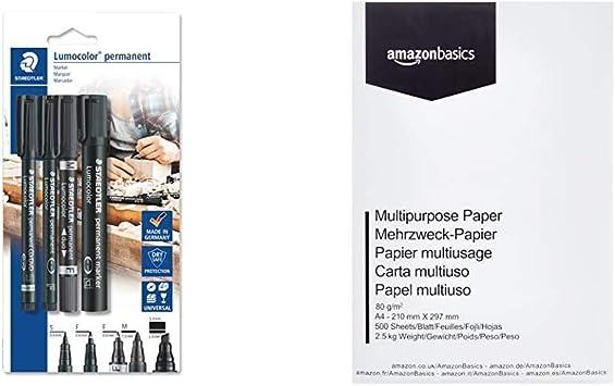 Image ofStaedtler Lumocolor permanent 60 BK Juego de rotuladores permanentes con diferentes puntas, 4 unidades + AmazonBasics Papel multiusos para impresora A4 80gsm, 1 paquete, 500 hojas, blanco