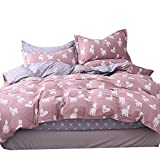 OTOB Animal Alpaca Duvet Cover Twin Cotton, Children Bedding Sets for Girls