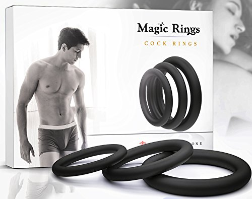 Penis Ring Set for Men - Adult Toys for Couples - Sex Enhancer Ring - Silicone Cock Rings for Longer Orgasm by Magic Rings - Black by Magic Rings