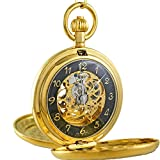 OGLE Vintage Roman Copper Double Cover Chain Fob Self Winding Automatic Mechanical Pocket Watch (Black)