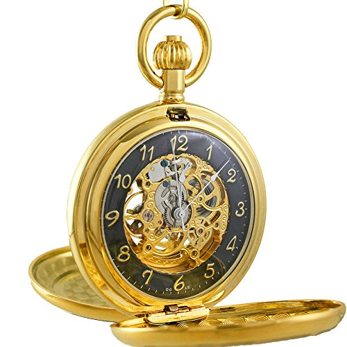 OGLE Vintage Roman Copper Double Cover Chain Fob Self Winding Automatic Mechanical Pocket Watch (Black) by OGLE
