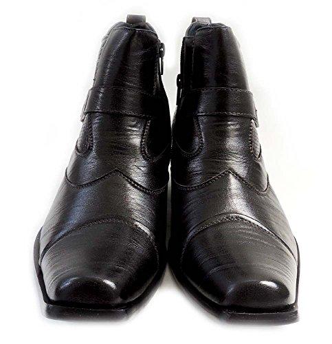Ny Delli Aldo Menns Stilige Ankelstøvletter Lær Glidelås Spenne Stropper Komfort Sko-m606001pl / Svart
