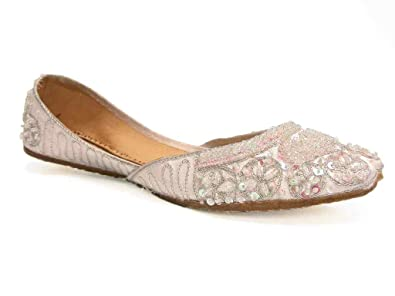 a0e5a0be4e0b56 Beachcombers Womens Khussa Cool White Silk Beaded Flats Size 6