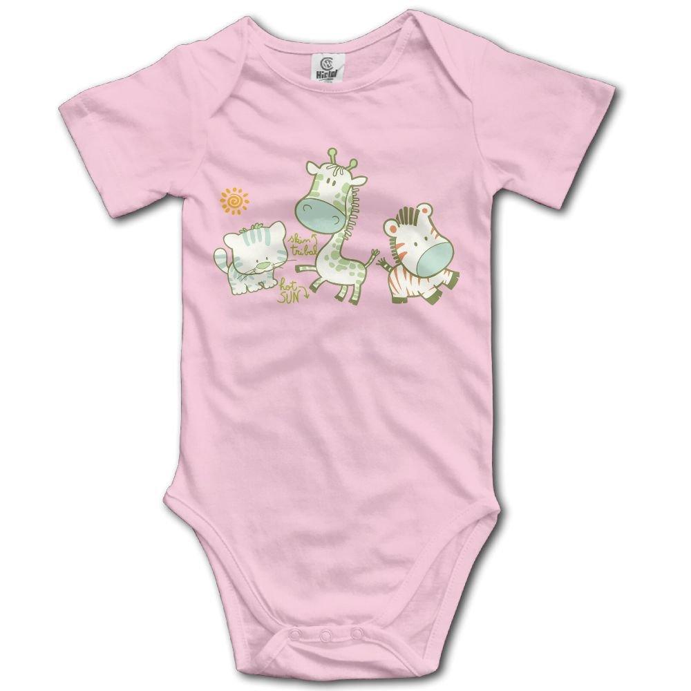 Jaylon Baby Climbing Clothes Romper Cute Zebra Giraffe Infant Playsuit Bodysuit Creeper Onesies Pink