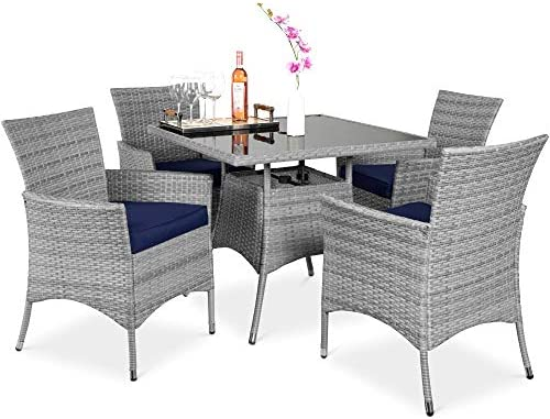 Best Choice Products 5-Piece Indoor Outdoor Wicker Dining Set Furniture