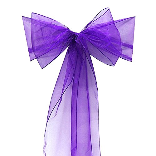 SumDirect 12pcs Beautiful Organza Chair Ribbon Sash (Purple)