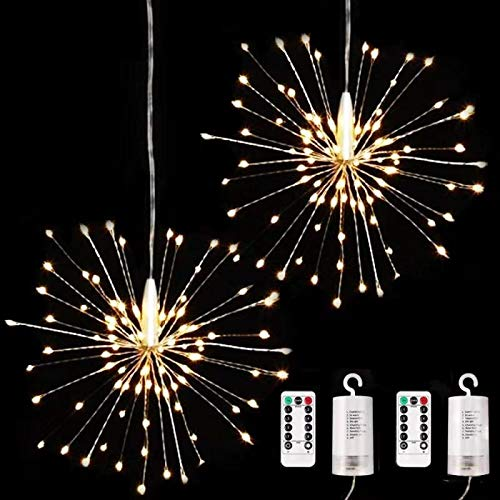 2 Pack 120 LED Firework Copper Fairly Lights,8 Modes Dimmable String Fairy Lights with Remote Control, Hanging Starburst Lights for Parties,Home,Christmas Outdoor Decoration (Warm White) (Outdoor Home Decorations)