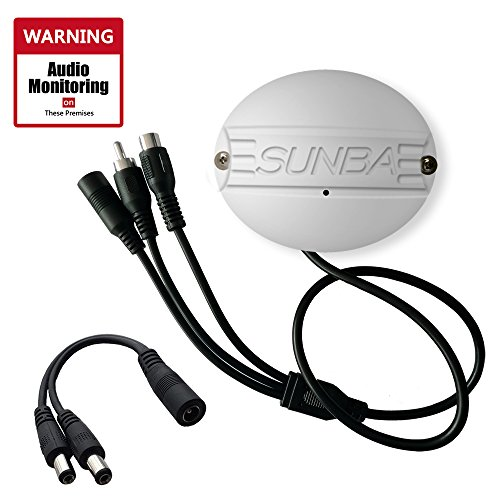 Sunba Outdoor Microphone for IP Security Cameras High Sensitivity Audio Pick-up with Warning Decal-No Screws by Sunba