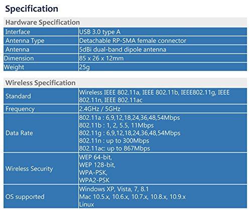 Alfa Long-Range Dual-Band AC1200 Wireless USB 3.0 Wi-Fi Adapter w/2x 5dBi External Antennas - 2.4GHz 300Mbps / 5Ghz 867Mbps - 802.11ac & A, B, G, N by Alfa (Image #8)