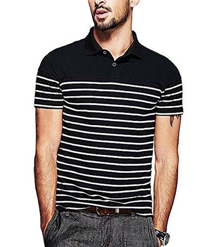 (COOFANDY Mens Short Sleeve Polo Shirt Casual Slim Fit Striped T Shirts,Small,Black)