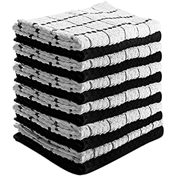 Kitchen Towels (12 Pack, 15x25 Inch) Pure Cotton Machine Washable 6 Black and 6 White Dobby Weave Kitchen Dish Cloths, Tea Towels, Bar Towels By Utopia Towels