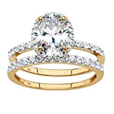 Solid 10K Yellow Gold Oval Cut Cubic Zirconia 2-Piece Bridal Ring Set Size 7
