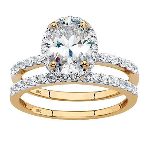 Solid 10K Yellow Gold Oval Cut Cubic Zirconia 2-Piece Bridal Ring Set Size 9