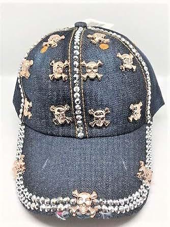 Tipsy Chics Capsmith Women's Denim with Gold Skulls & Rhinestone Baseball Hat