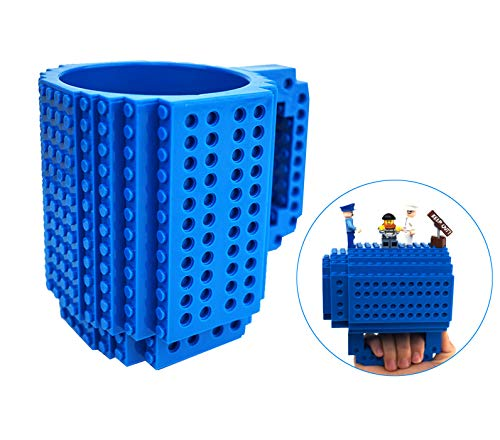 OSOPOLA Build-On Brick Mug Coffee Cup DIY Type Plastic Creative Building Blocks Coffee Tea Beverage Drinking Funny Gift(12oz Blue - 12 Mug Desk Ounce