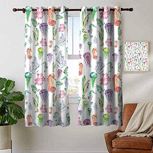petpany Bedroom Curtains 2 Panel Sets Jellyfish,Pattern with Colorful Seahorses,Jellyfish and Seaweed Algae Fun Cheerful Design,Multicolor,Complete Darkness, Noise Reducing Curtain 42