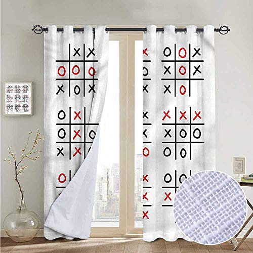 NUOMANAN Curtains for Bedroom Xo,Tic Tac Toe Game Set Art Curtain Panels for Bedroom & Kitchen,1 Pair 120