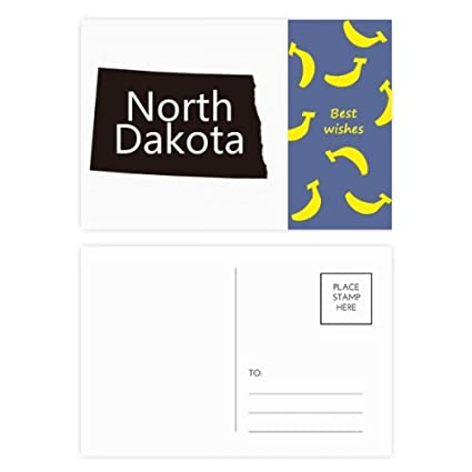 North Dakota America USA silueta de mapa Banana Postal Set ...
